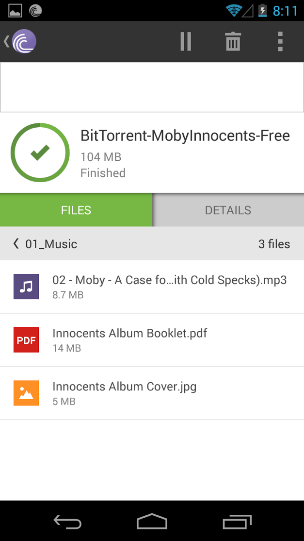 Torrent details and file list in BitTorrent Android